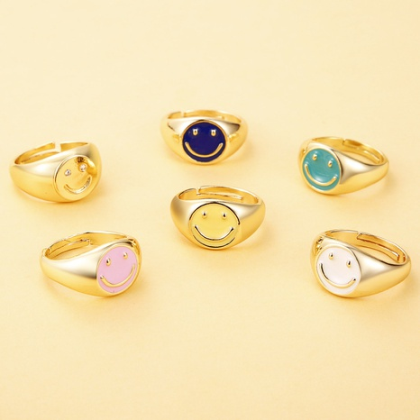 wholesale jewelry copper drop oil smiley face ring Nihaojewelry NHJE376551's discount tags