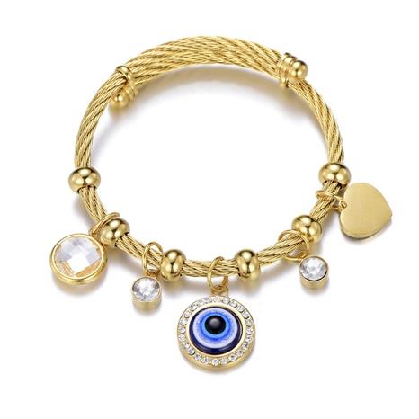 Nihaojewelry acero inoxidable Turquía azul mal de ojo pulsera joyería al por mayor NHLIZ376631's discount tags