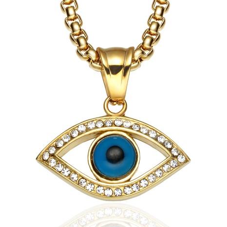 Nihaojewelry Jewelry Wholesale Collar con colgante de mal de ojo de acero inoxidable NHLIZ376630's discount tags