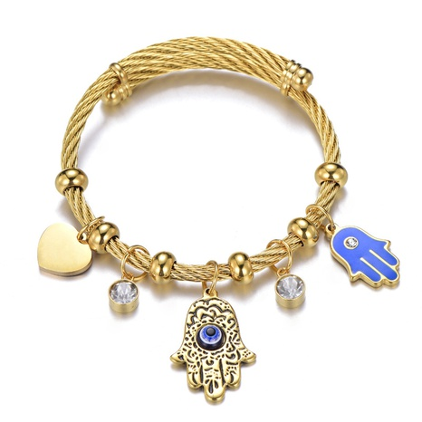 Nihaojewelry Blue Eyes Palm Stainless Steel Bracelet Wholesale jewelry NHLIZ376647's discount tags