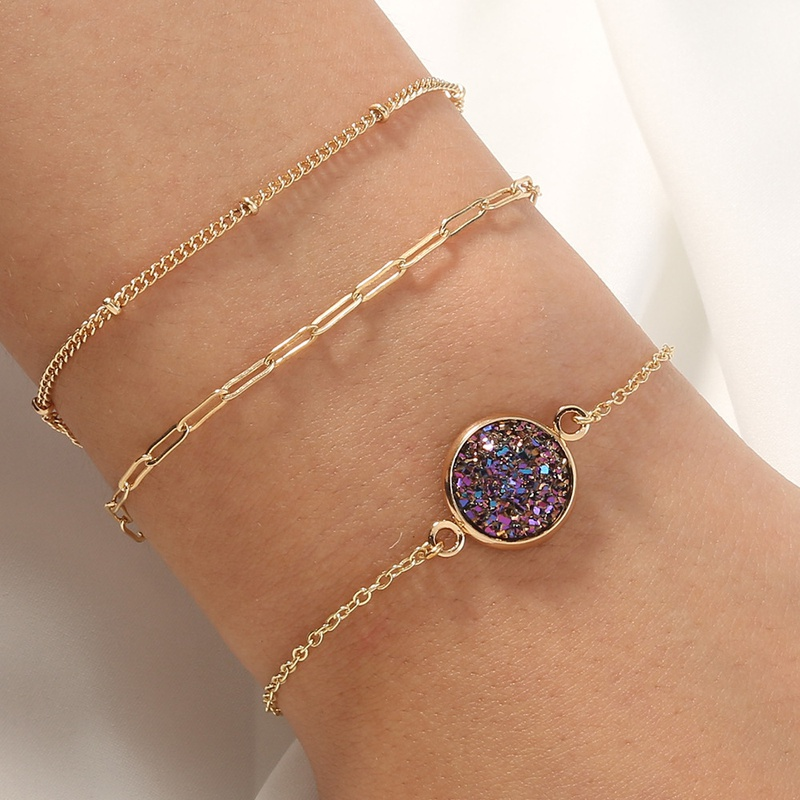 Nihaojewelry simple purple crystal cluster lattice chain multilayer bracelet Wholesale jewelry NHAN376742