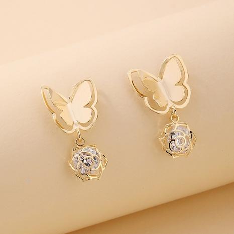 Nihaojewelry joyas al por mayor pendientes de flor de mariposa de diamantes de imitación de galvanoplastia de oro real NHNJ376977's discount tags