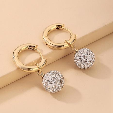 Pendientes de color con incrustaciones de diamantes de imitación con incrustaciones de metal al por mayor de joyería Nihaojewelry NHNJ376978's discount tags