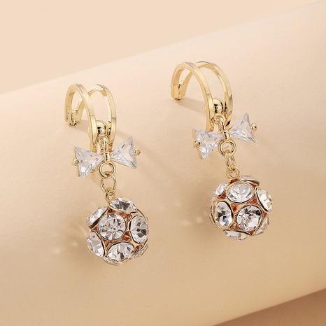 Pendientes de arco de bola de diamantes de imitación con incrustaciones de joyería de Nihao al por mayor NHNJ376979's discount tags