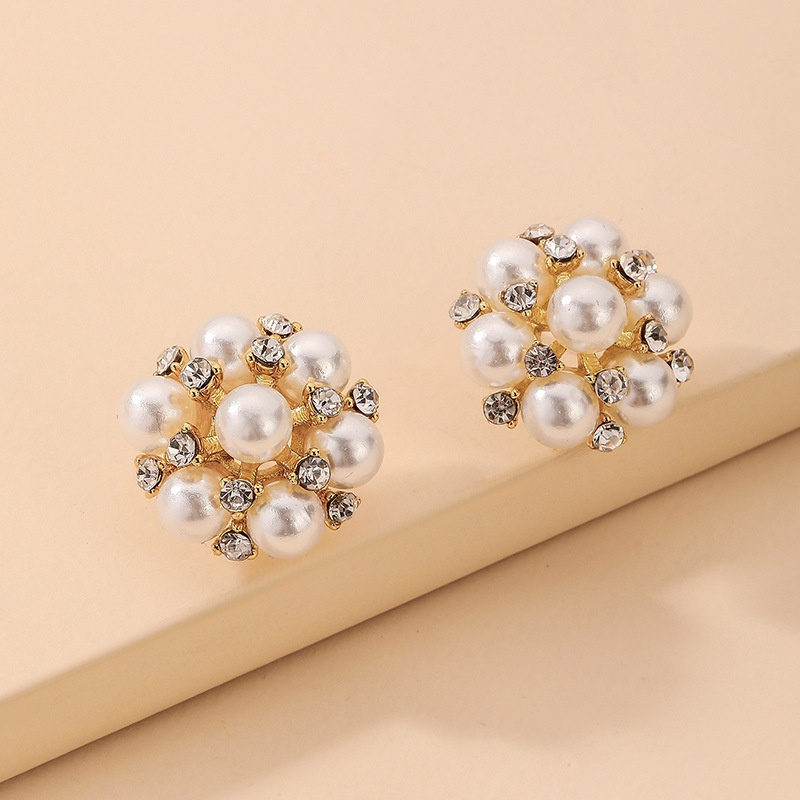 Nihaojewelry jewelry wholesale inlaid rhinestone pearl flower stud earrings  NHNJ376982