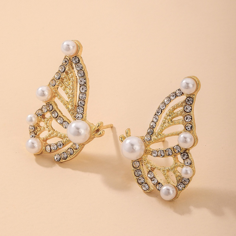 Nihaojewelry jewelry wholesale retro pearl diamond butterfly earrings  NHNJ376985
