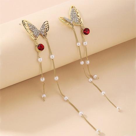 Nihaojewelry joyas al por mayor pendientes de borla de mariposa de diamantes de imitación de perlas retro NHNJ376986's discount tags