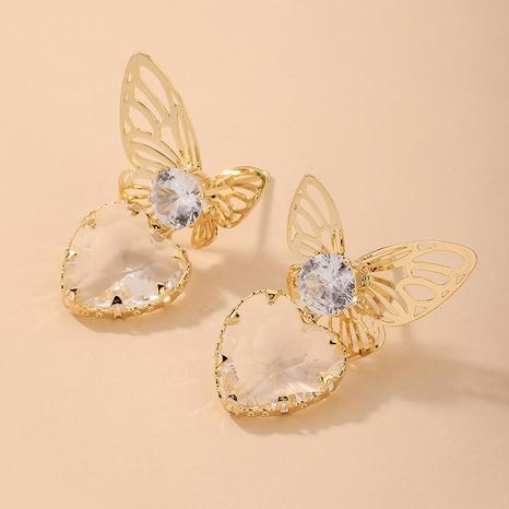 Nihaojewelry joyas al por mayor pendientes de mariposa de corazón de diamantes de imitación retro NHNJ376993's discount tags
