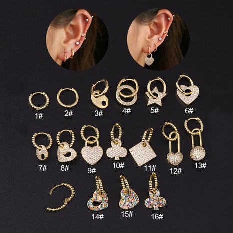 Nihaojewelry moda corazón ciruelo flor con incrustaciones de circón pendientes de acero inoxidable joyería al por mayor única NHEN377017's discount tags