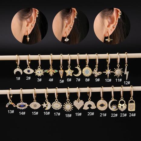 Nihaojewelry mode irrégulière micro-incrusté zircon boucles d'oreilles en acier inoxydable bijoux en gros simples NHEN377022's discount tags