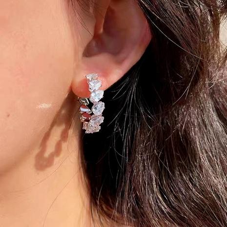 nihaojewelry fashion U-shape copper inlaid zircon earrings wholesale jewelry NHJE377039's discount tags