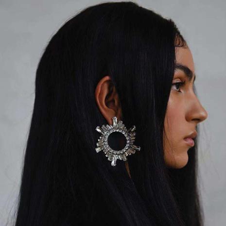 nihaojewelry fashion hollow sunflower inlaid rhinestone earrings wholesale jewelry NHJE377040's discount tags