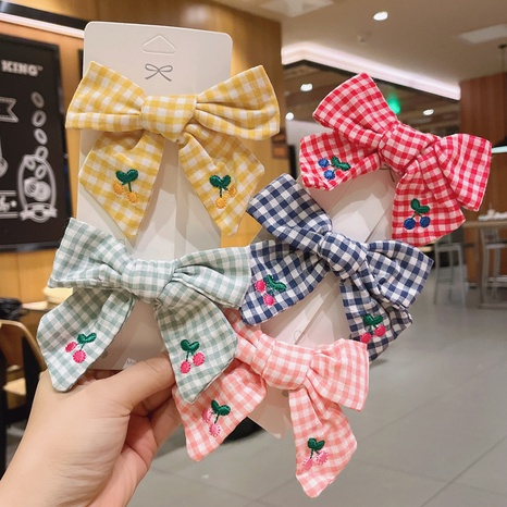 wholesale accessories embroidery fruit cherry bow checkered hairpin Nihaojewelry NHDQ377071's discount tags