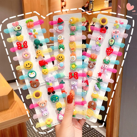 Nihaojewelry wholesale Korean fruit small animal children's hairpin combination set NHNA377128's discount tags
