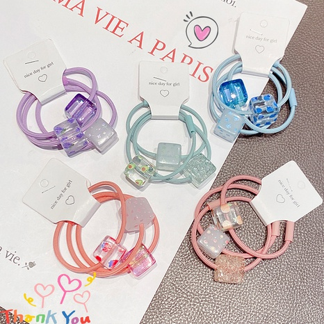 nihaojewelry simple square candy color fruit printing hair scrunchies wholesale jewelry NHNA377139's discount tags
