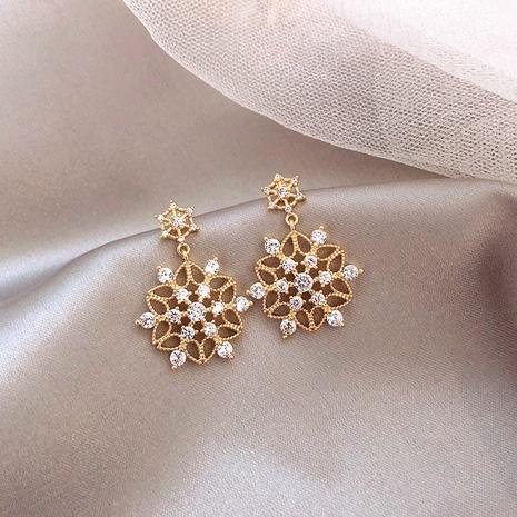 Joyería al por mayor Pendientes de pétalos de diamantes completos Nihaojewelry NHPA377155's discount tags