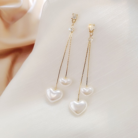 Al por mayor joyas en forma de corazón pendientes largos de cobre de perlas Nihaojewelry NHPA377208's discount tags