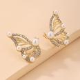 NHNJ1743207-Silver-Post-Golden-Butterfly-Stud-Earrings