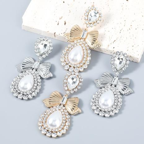 nihaojewelry fashion drop-shaped bow inlaid pearl diamood earrings wholesale jewelry NHJE377033's discount tags