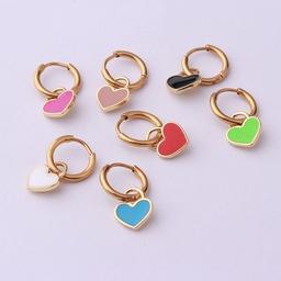 wholesale jewelry stainless steel candy color heart ear buckle Nihaojewelry NHEN377015