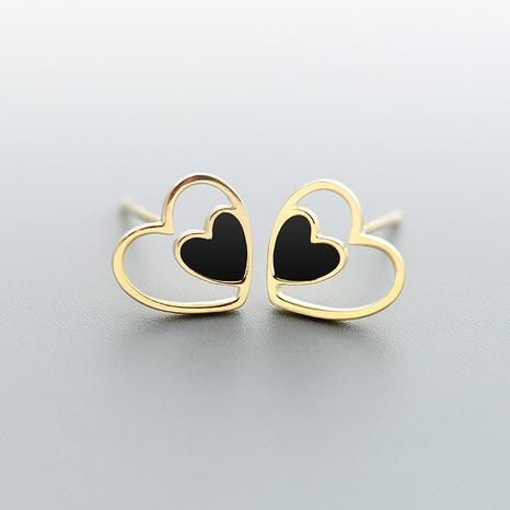 nihaojewelry coreano doble en forma de corazón 925 pendientes de plata joyería al por mayor NHHER376495's discount tags