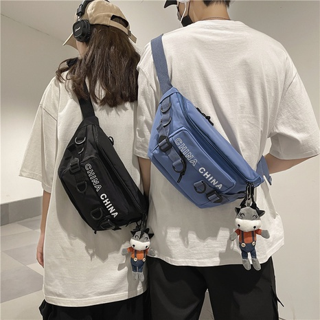Nihaojewelry casual messenger canvas chest bag wholesale accessories NHAV382064's discount tags
