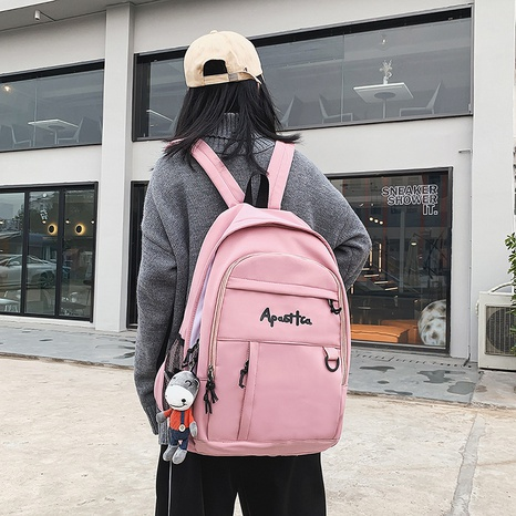 wholesale simple large-capacity solid color letter embroidery backpack nihaojewelry  NHAV382079's discount tags