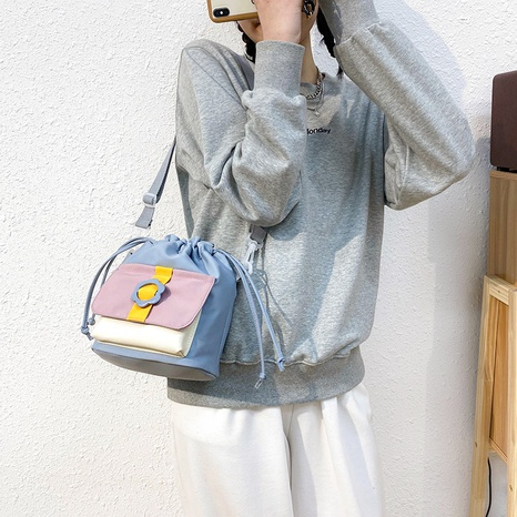 wholesale simple color matching drawstring messenger canvas bucket bag nihaojewelry  NHAV382082's discount tags