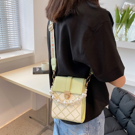wholesale fashion pearl chain plaid messenger small square bag nihaojewelry  NHWH382186's discount tags