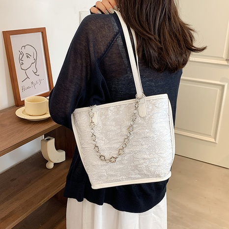 wholesale simple solid color chain one-shoulder small canvas bag nihaojewelry  NHWH382191's discount tags