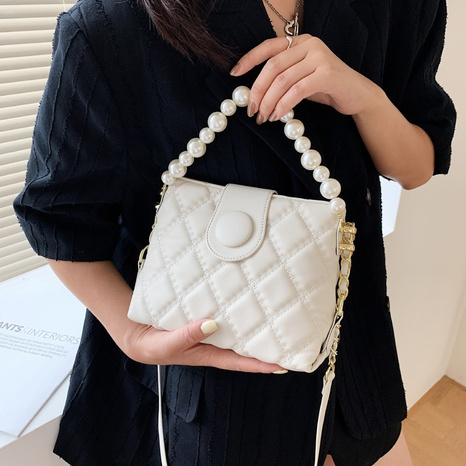 wholesale fashion rhombic pearl chain shoulder messenger bag nihaojewelry  NHWH382195's discount tags