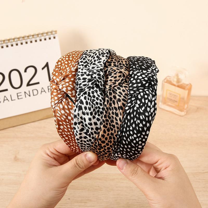 wholesale jewelry imitation silk printing leopard headband Nihaojewelry NHCL382475