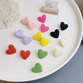wholesale jewelry fashion color heart-shaped stud earrings nihaojewelry  NHMS382743