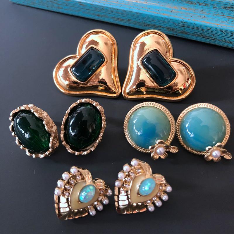 wholesale jewelry retro green blue gemstone earrings nihaojewelry  NHOM382905