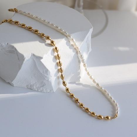 vente en gros bijoux simple épissage de perles d'eau douce collier en acier au titane nihaojewelry NHJIF382926's discount tags