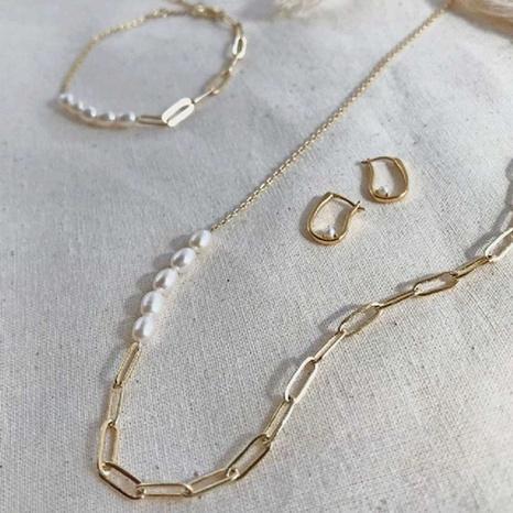 vente en gros bijoux mode perle couture chaîne asymétrique collier en acier titane nihaojewelry NHJIF382937's discount tags