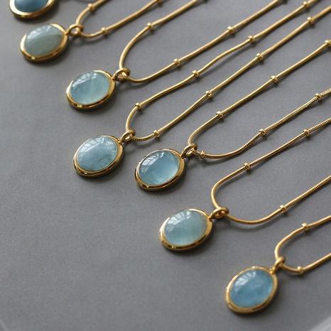 Bijoux en gros Fashion Star Ocean Blue Oval Titane Steel Collier Nihaojewelry NHJIF382939's discount tags