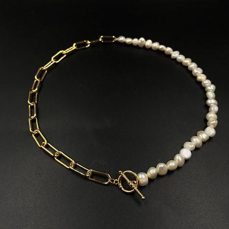 wholesale bijoux simple chaîne d'épissage de perles OT boucle collier nihaojewelry NHJIF382941's discount tags