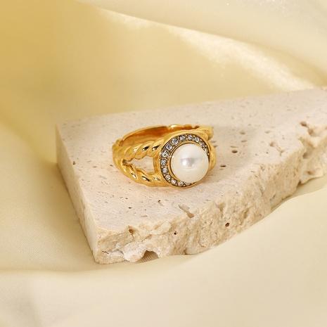 vente en gros bijoux bague en acier inoxydable perle diamant double couche Nihaojewelry NHJIE382982's discount tags