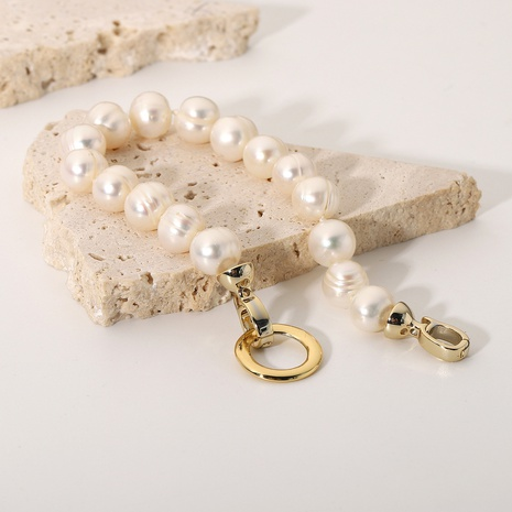 Vente en gros bijoux mode perle d'eau douce boucle ronde bracelet en acier inoxydable nihaojewelry NHJIE382984's discount tags