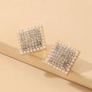 Nihaojewelry simple inlaid rhinestone pearl square earrings wholesale jewelry NHNJ383018