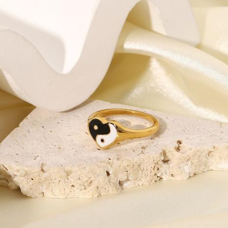 vente en gros bijoux bague en acier inoxydable coeur noir et blanc Nihaojewelry NHJIE383045's discount tags