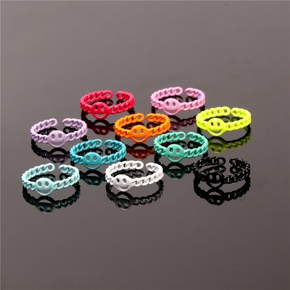 wholesale jewelry hollow smiley face candy color open ring Nihaojewelry NHPY383080