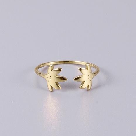 Vente en gros bijoux bague creuse à double feuille en acier au titane ihaojewelry NHAB383110's discount tags
