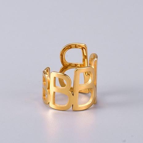 Vente en gros bijoux bague d'ouverture de lettre creuse en acier au titane Nihaojewelry NHAB383119's discount tags
