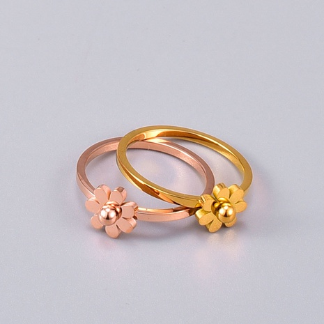 vente en gros bijoux petite marguerite bague en acier titane Nihaojewelry NHAB383127's discount tags