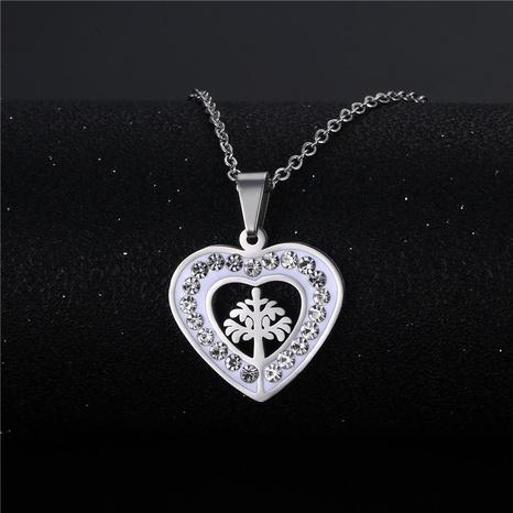 wholesale bijoux mode en forme de coeur arbre de vie pendentif collier en acier inoxydable nihaojewelry NHAC383134's discount tags