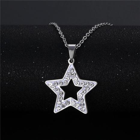 wholesale bijoux simple pendentif étoile creuse creuse à cinq branches collier en acier inoxydable nihaojewelry NHAC383132's discount tags