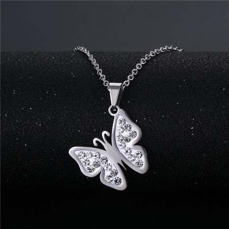 wholesale bijoux de mode en forme de papillon incrusté de diamants pendentif en acier inoxydable collier nihaojewelry NHAC383135's discount tags