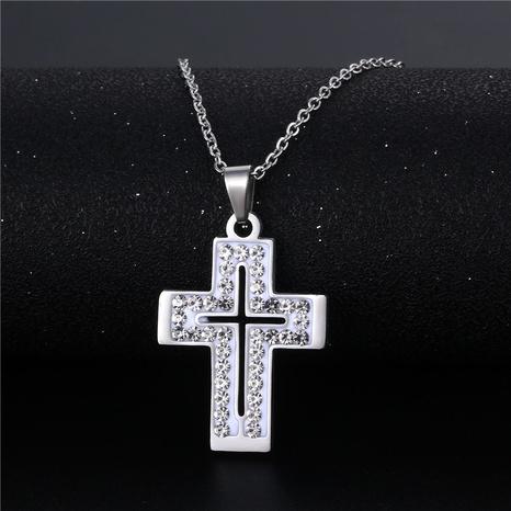 vente en gros bijoux simple croix incrusté de diamants collier en acier inoxydable nihaojewelry NHAC383136's discount tags